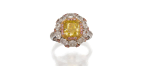 Platinum, fancy intense yellow diamond, Argyle fancy intense pink diamond and diamond ring
