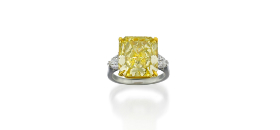 Platinum, 18ct gold, fancy yellow diamond and diamond ring